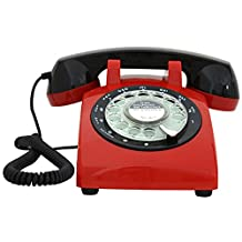 Classic Old-Fashioned Turntable Telephone Rotary Dial Retro Phone Antique Office Household Fixed Phone Metal Ringing (Color : B)
