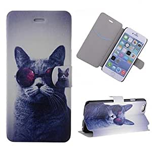 Fashionable Special Grains Glasses Cat Pattern PU Leather Full Body Case with Card Slot for iPhone 6 Back Cases