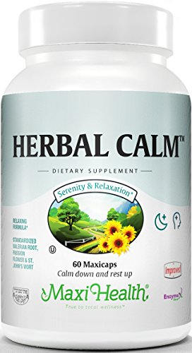 Maxi Health Herbal Calm – with Valerian Root and St Johns Wort – Relax Formula – 60 Capsules – Kosher