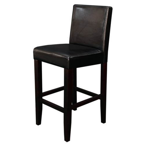 Back Leather Counter Stool (Monsoon Pacific Villa Faux Leather Counter Stool, Black, Set of 2)