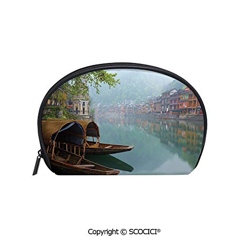 SCOCICI Durable Printed Makeup Bag Storage Bag Antique Town Misty Mountains Houses Waterside Boats Scenic View for Women Girl Student