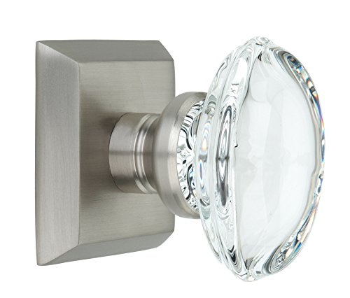 Dummy Spindle (Knoxx Hardware Metro Square Rose with Oval Crystal Door Knobs, Single Dummy, Satin Nickel)