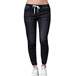 Ulanda Women's Loose Casual Denim Pull-On Pants with Drawstring Waist Cropped Jeans Plus Size