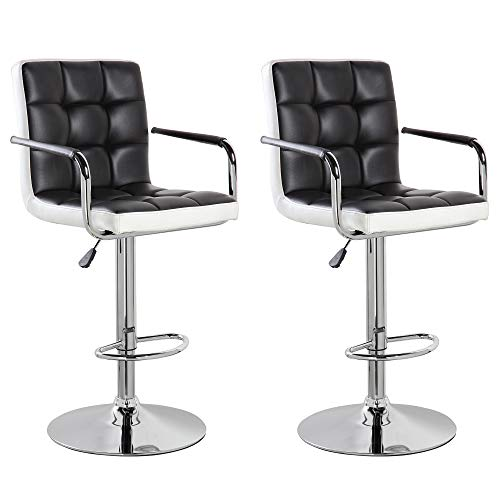(United Office Chair 5012BK-2 Modern Contemporary Leather Swivel Adjustable Counter Height Bar Stools with Backs and Arms Set of 2 Black White)