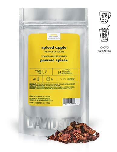 DAVIDsTEA Spiced Apple Loose Leaf Tea, Premium Apple Tea with Vanilla, Caffeine-free Apple Cider Infusion, 2 ounces / 50 grams