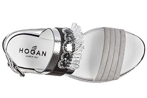 Hogan sandalias mujer en piel nuevo h257 gris