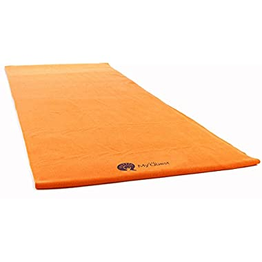 MyQuest Bikram Hot Yoga Towel - Microfiber Non Slip Skidless Yoga Mat Towel With Premium Carry Bag (XL Orange)