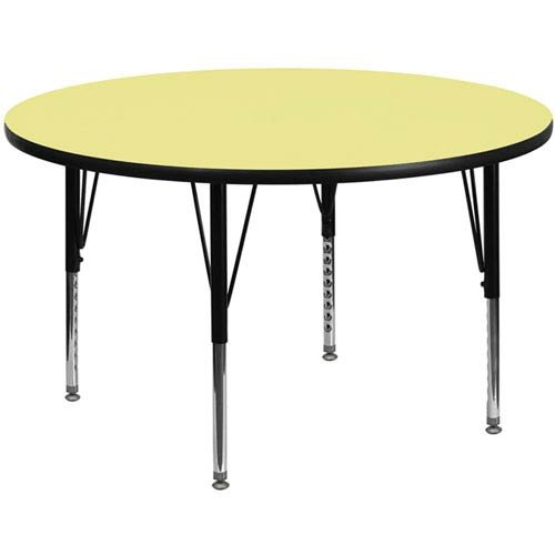 Parkside 48 In. Round Activity Table with Yellow Thermal Fused Laminate Top and Height Adjustable Preschool Legs