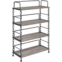 ACME Furniture 92192 Jodie Bookshelf, Rustic Oak & Antique Black