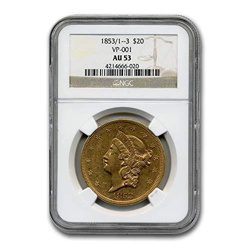 1853 1__3 $20 Liberty Gold Double Eagle AU-53 NGC (VP-001) G$20 AU-53 NGC