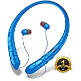 Bluetooth Headphones, LIUHE Wireless Neckband Headset with Retractable Earbuds, Sports Noise Cancelling Stereo Earphones with Mic (Blue)(12 Hrs Playtime,Call Vibrate Alert)