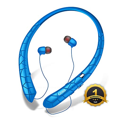 [Upgrade V4.1] Bluetooth Headphones LIUHE Wireless Neckband Headset Retractable Earbuds Sports Sweatproof HD Stereo Noise Cancelling Earphone w/Mic for iPhone and Android Cellphones (Blue)