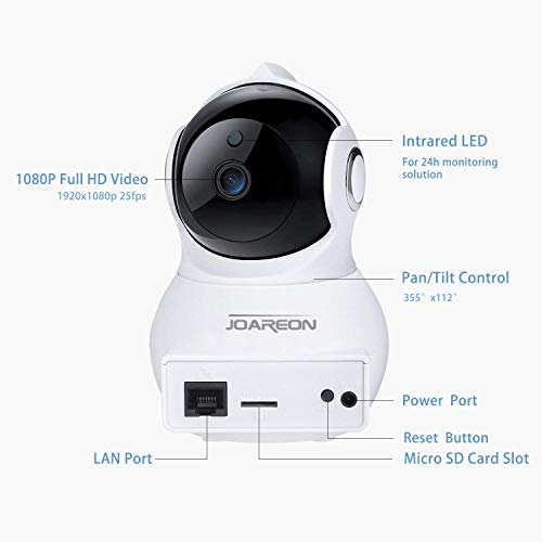 JOAREON 1080P H.265 2Mega Pixel WiFi Security Camera, Home Remote Control Monitoring Camera, Pan/Tilt, Motion Detection Alarm Funtion,Baby Nanny Elder Monitor,Support iOS/Android,Home Camera
