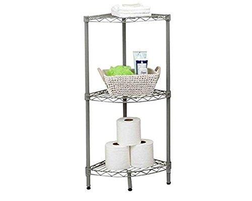 Home Basics Grey Wire Corner Shelving Unit (3-Tier)
