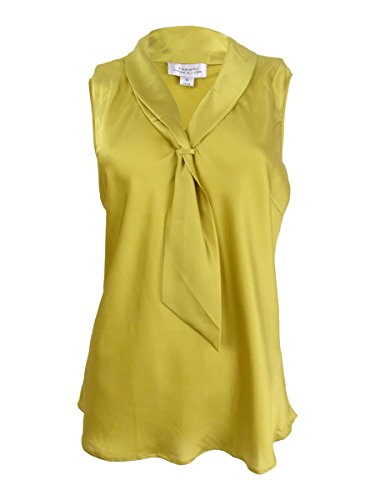 Tahari ASL Women's Sleeveless Charmeuse Tie-Neck Blouse (M, Lime Green) Charmeuse Sleeveless Tie