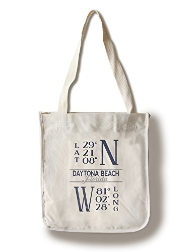 Daytona Beach, Florida - Latitude and Longitude (Blue) (100% Cotton Tote Bag - - Beach Florida Daytona Shopping
