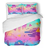 Emvency 3 Piece Duvet Cover Set Breathable Brushed Microfiber Fabric Colorful Funky Retro Vintage 80S 90S Style Abstract Good Design and Pop 1980S Party Bedding with 2 Pillow Covers Full/Queen Size