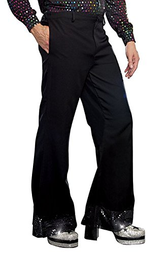 Freebily Adult Men Disco Pants Bell Bottoms Flared Pants 70s Costume Halloween Fancy Dress Black 3X-Large