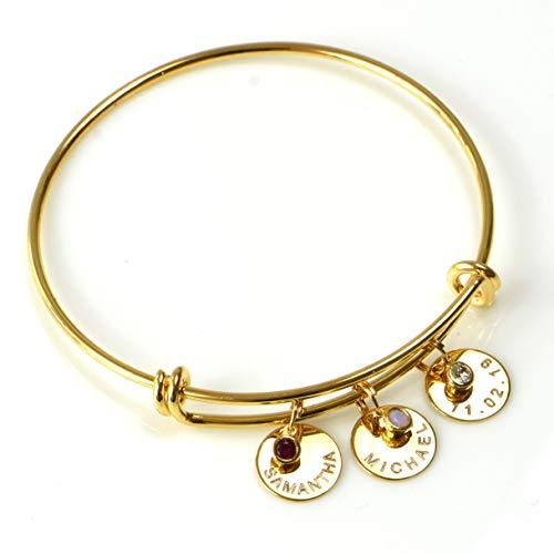 (Birthstone Bracelet,Silver Rose Gold Gold Family Bracelet,Custom Bracelet with Kids Names,Name Bangle Bracelet,Custom Bangle,Gifts For Mom)