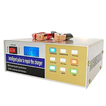 WOVELOT Cargador de batería de Coche Tipo de Pulso Cable eléctrico Reparación Ácido Enchufe de la UE Totalmente automático 12V / 24V 100Ah