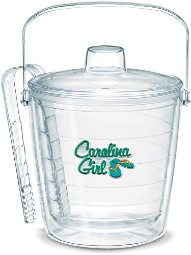 North Carolina Ice Bucket - Tervis 1046635 Carolina Girl Insulated Tongs with Emblem Lid-Boxed, 87oz Ice Bucket, Clear