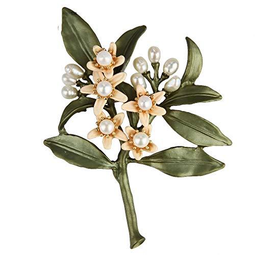 Orange Flower Tree Brooches Natural Pearls Brooch Scarves Buckle Accessories Stud Earrings by Jana Winkle (Image #2)