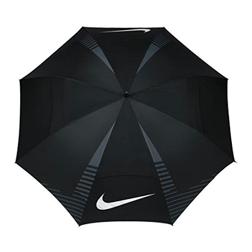Nike 62 Inch Windsheer Lite Golf Umbrella (Black/White/Dark Grey)