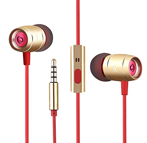Gihery Earphones,Stereo Ear Buds with Microphone Noise Isolating in-Ear Headphones Enhanced Bass Wired Ear Buds for Sports Gym Running Workout for 3.5mm Audio Jack (Gold)