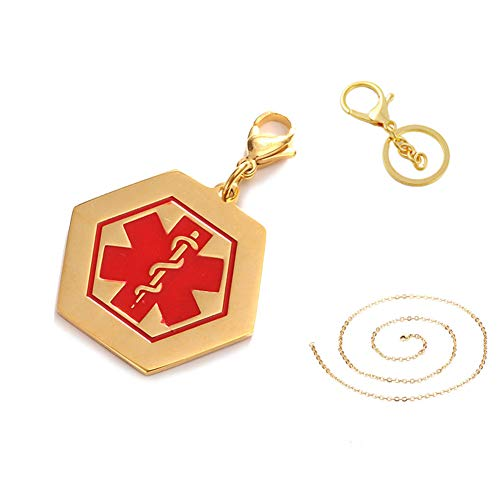 LiFashion LF 316L Stainless Steel IP Gold Plated Sos DNR Medical Alert Hexagon ID Tag Key Ring Keychain Charm Pendant Necklace Men Women Teens Health Alert Monitoring Systems(Do Not Resuscitate)