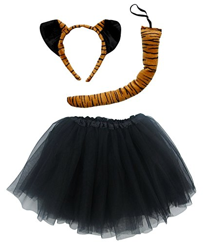 So Sydney Kids Teen Adult Plus Tutu Skirt, Ears, Tail Headband Costume Halloween Outfit (L (Adult Size), Tiger Black & Orange)