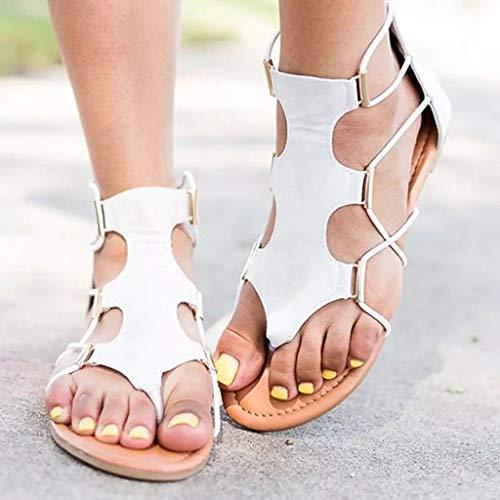 Plataforma Retro Verano Moda Sandalias Plana Zapatillas Mujer Cruzada Redonda Zapatos Blanco Correa De Punta gxqBzwq