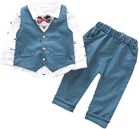 f1afc177a Baby Boy Girl Clothes 3Pcs/Set Bow Ties Shirts + Vest + Pants Gentleman  Outfit