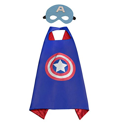 Halloween Superhero Dress Up for Kids, Best Christmas, Birthday Gift, Cosplay Party Cape and Mask Role Play Set, Cartoon Outfit for Boys and Girls (Captain America) ()
