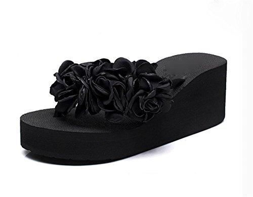 de señoras los clip talón flip la antideslizantes Zapatos flop manera de las 2 del alto playa pies de la Sandalias Flor los del qwISEP