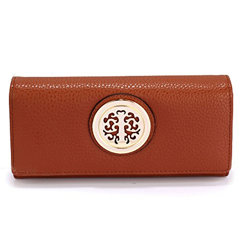 designer With Brown Decoration 2 Womens Large Wallet Look Purses Design Metal Ladies and Luxury Slots Card XwwtAqU