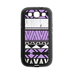 Aztec Wood Violet Pattern Protective Gel Rubber Back Fits Cover Case for SamSung Galaxy S3 by lolosakes