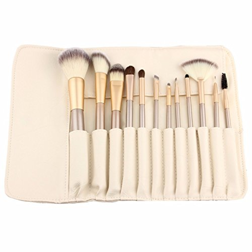12 Piece Makeup Brushes Set | Horse Hair Professional Kabuki Makeup Brush Set Cosmetics Foundation Makeup Brushes Set Kits with White Cream-colored Case Bag (Makeup Forever Brush Set)