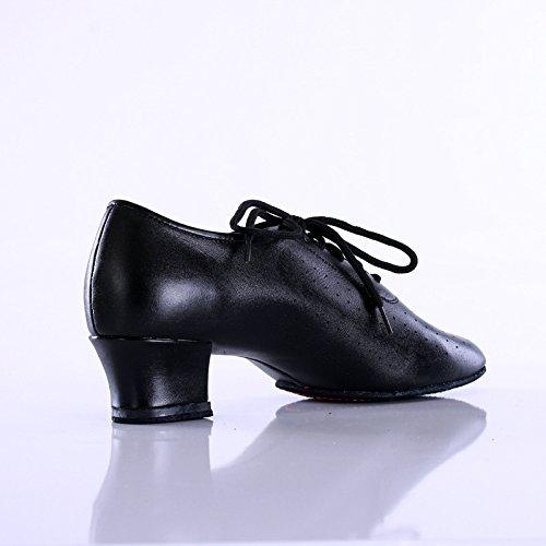 Vache Cuir Salon Professeurs De Chaussures Yjiaju Pour Latine Véritable Femme Danse En Professionnelle Noir Black WgSPgHqzn
