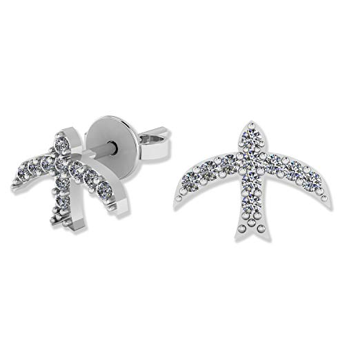 Setting Pave Sterling Silver (.925 Sterling Silver & Pavé-Set Cubic Zirconia Petite Stud Earrings - Flying Bird)
