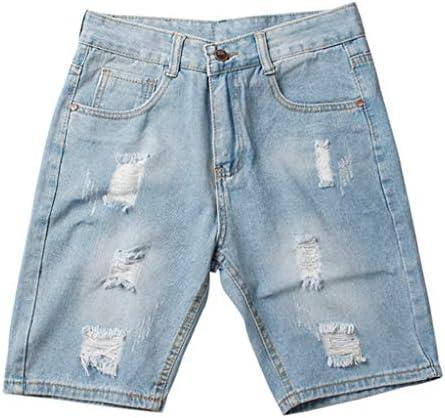 デニム ハーフパンツ ショートパンツ ジーンズ ダメージ加工 メンズ ブルー 短パン 半ズボン アメカジ 通勤 カジュアル 伸縮性 ややスキニー タイト おしゃれ かっこいい ストリート ボーイズ 大きいサイズ