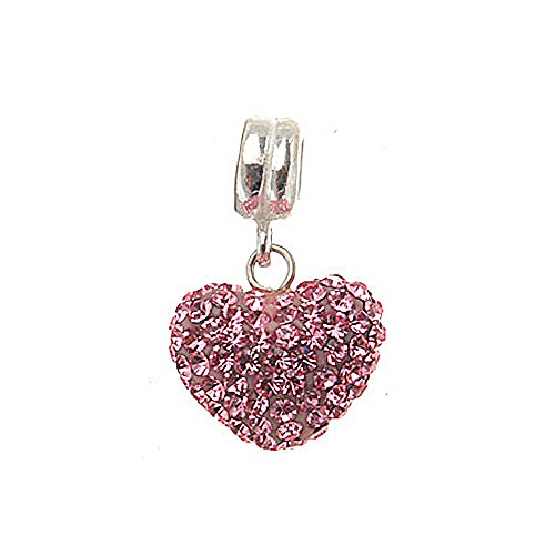 Everbling Love Heart with Pave Pink Austrian Crystal Dangle 925 Sterling Silver (Austrian Crystal Dangle Bracelet)