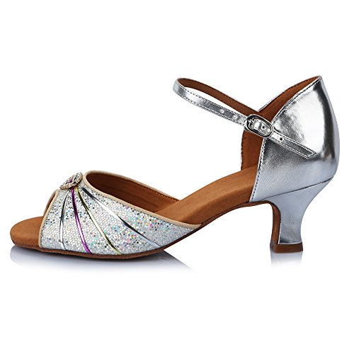 Shoes Model Performance Latin Roymall Shoes Dance Salsa Women's Silver AF424 Tango Ballroom 2 Leather Z4q4xInw6