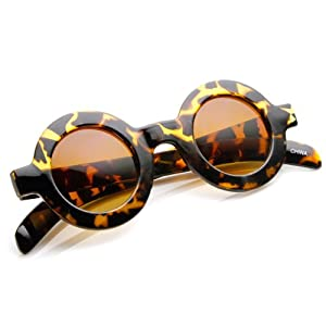zeroUV - Retro Fashion Bold Frame Horned Rim Round Circle Sunglasses