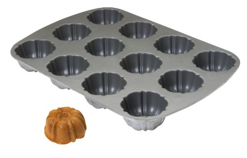Focus Foodservice Commercial Bakeware 12 Count 2-5/8-Inch Non-Stick Cast Aluminum Fluted Muffin Pan