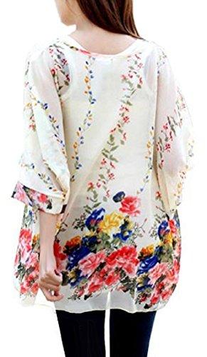 Camiseta Manga Murcielago Mujer Boho Blusa Estampadas Flores Top Gasa Tunicas Verano Pareos de Playa Bikini Cover up - Landove patrón 09