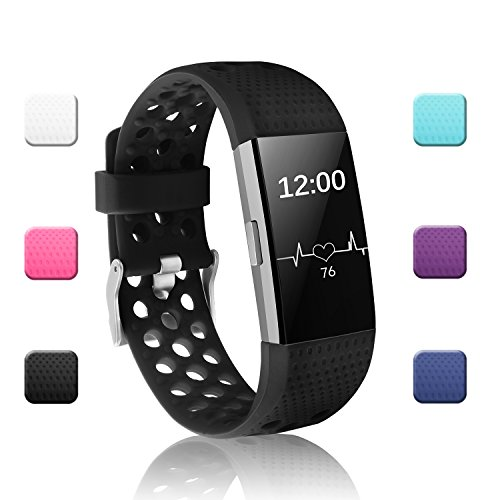 - POY Replacement Bands Compatible for Fitbit Charge 2, Adjustable Breathable Wristbands with Air Holes Straps, Large Black 1PC