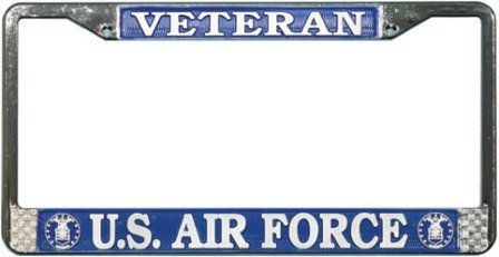 US Air Force Veteran License Plate Frame (Chrome Metal)