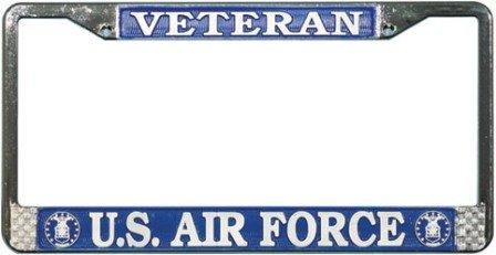 US Air Force Veteran License Plate Frame (Chrome Metal) Veteran Metal