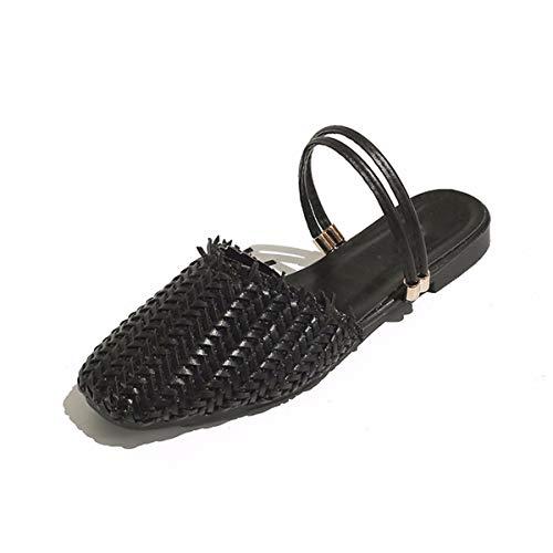 Due Scarpe KPHY Nastro A Fondo Retro Con Le Femminile Baotou Testa Black Tessuti donna 'Hollow Piatto 35 Quadrata da Semi Pantofole qffdAw6