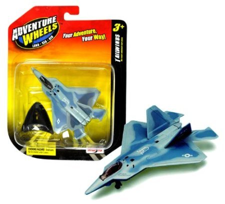 Maisto Adventure Wheels Land-Sea-Air Tailwinds Series 1:152 Scale Die Cast United States Military Aircraft Replica - Supermaneuverable Fighter Jet with Stealth Technology F-22 RAPTOR Plus Display Stand (Dimension: 3-1/2' x 4-1/2' x 1')
